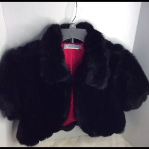 Faux fur cropped shrug jacket